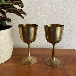 Two Solid Brass Wine Goblets